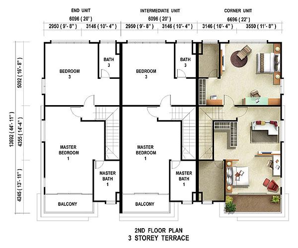 Floor Plan 3 Storey Terrace Casuarina Second Floor
