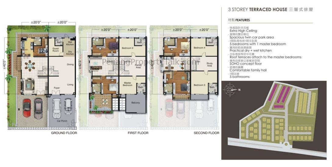 3 Storey Terrace Floorplan Penang Property Talk
