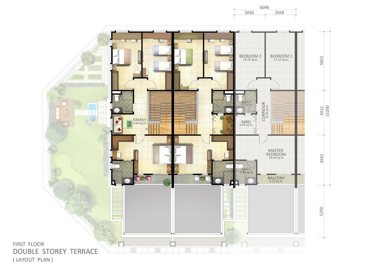 2StoreyTerracefirstfloorplan – Single Storey Terrace House Floor Plan