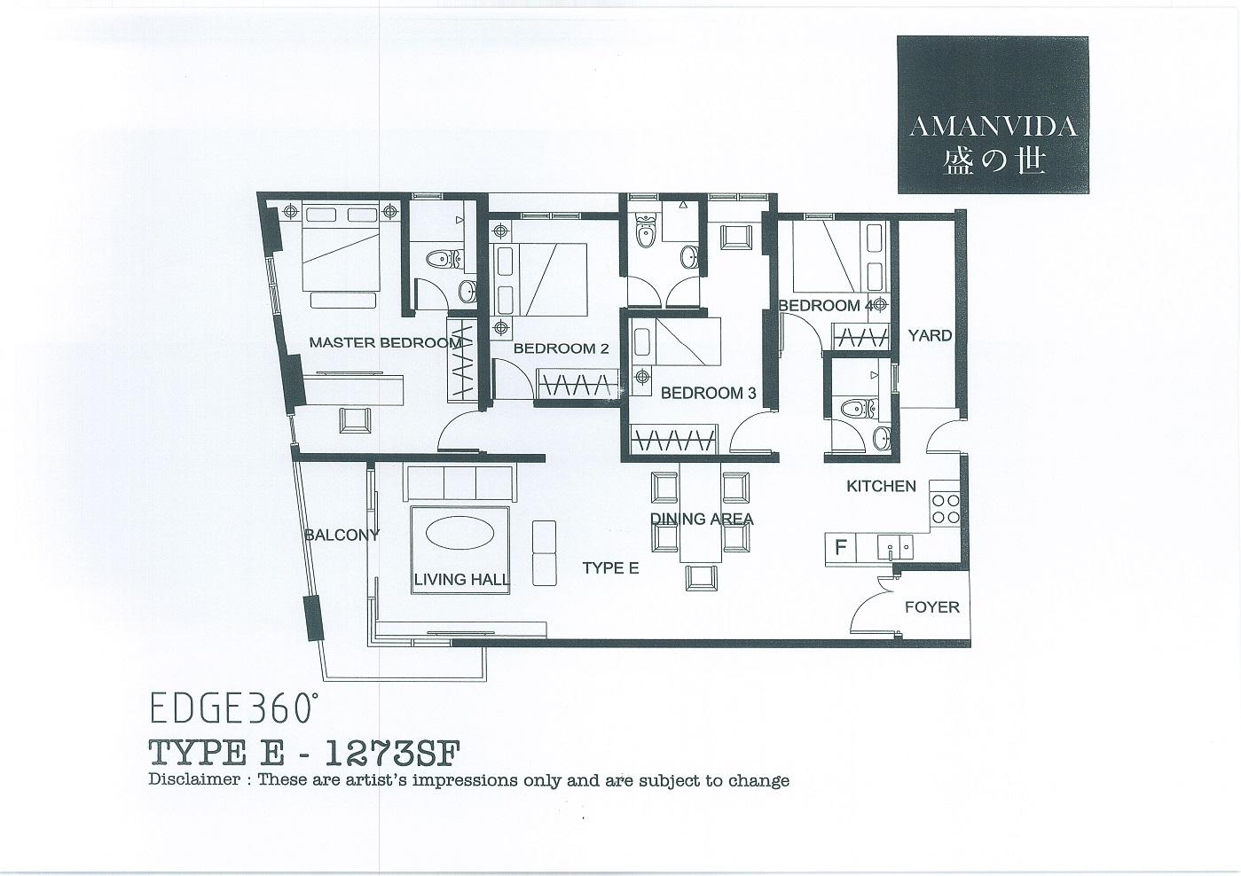 Floor Plan E 1273sf Penang Property Talk