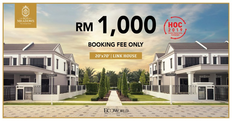 A double-storey link house can be yours now with a RM 1,000 booking fee! Project details