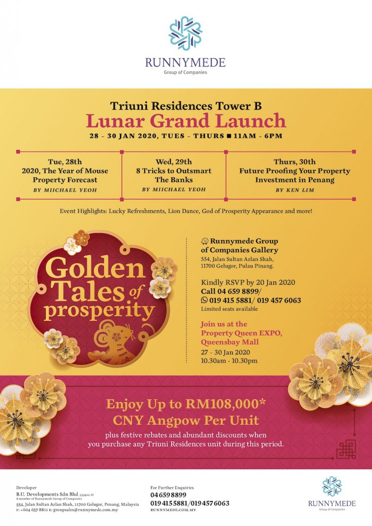Triuni Residence Tower B Lunar Grand Launch! Enjoy up to RM108K CNY Angpow per unit